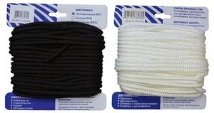 Шнур плетеный Стандарт длина 20м, на карточке - диаметр 5 мм, белый