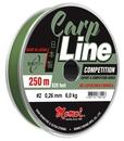 Леска Carp Line Competition 250 м, оливковая, 4,7 кг, диаметр 0,21 мм.