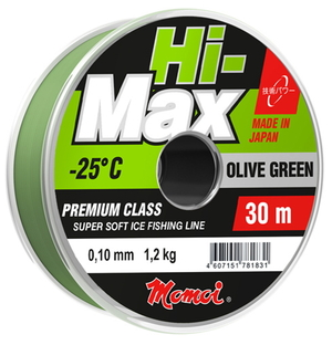 Леска Hi-MAX Olive Green зеленая 0,12 мм, 1.6 кг, 30 м