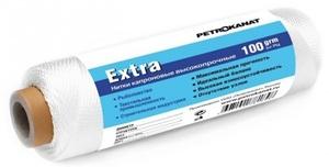 Нить капроновая белая Extra диаметр 2,50 мм, 210d/96, тест 130 кг, вес 100 гр, длина 35 м.