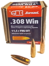 Пуля оболочечная БПЗ 308 Win FMJ латунь 11,5 гр, 25 шт.