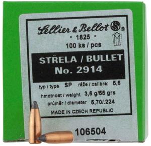 Пуля S&B к..223 Rem SP полуоболочка латунь 3,6 гр (55gr), 50 шт.