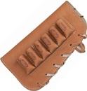 """Патронташ ХСН на приклад,  """"люкс"""" светло-золотая кожа, на 6 патронов - 12 и 16 калибра"""