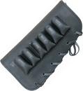 """Патронташ ХСН приклад,  """"люкс"""" черная кожа, на 6 патронов - 12 и 16 калибра"""