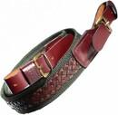 Ремень ХСН ружейный противоскользящий с плетением и с пряжкой, VIP коричневая кожа (арт. 3042)